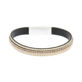 BIBA armband van Pu met kraaltjes. Zalmroze-goud combi. Zilverkleurige sluiting