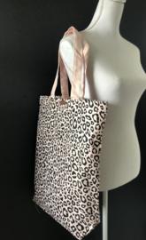 Super leuke katoenen Shopper.  Lichtroze + luipaard / panter print.