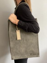 Kartel bag - tas XXL van ZEBRA. Gevoerd + laptop vak. Suède touch, Army green / donkergrijs