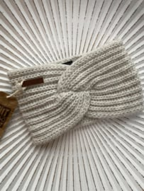 Knit Factory, gebreide haarband. Beige (wolwit)