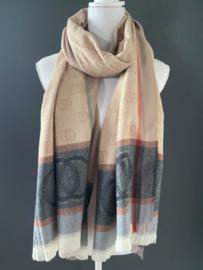 Langwerpige super zachte sjaal. Gucci style. Camel Bruin / Antraciet.