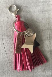 """Grote Tas- & sleutelhanger écht leer """"Big Star"""". Fuchsia roze."""