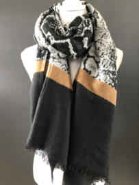 Langwerpige sjaal . Snakeprint / zwart / Camel
