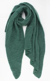 Langwerpige  super soft sjaal met ribbel. Uni groen.