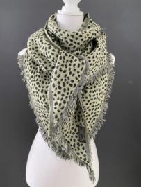 Lichtgewicht cheetah sjaal. 3-hoek vorm. 2 kanten draagbaar. Groen