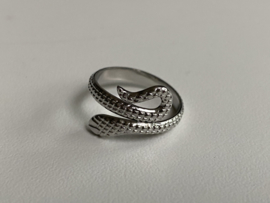 Stainless steel (RvS) ring. 'Snake'. Zilverkleurig.