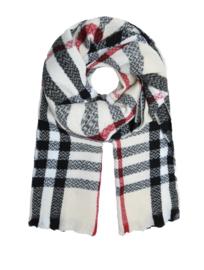 Grote Langwerpige super soft sjaal. Ruit. Ecru-zwart-rood