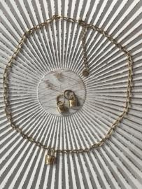 """RVS (stainless steel) ketting. Slotje """"love/stripes"""" Goudkleurig"""