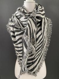 Lichtgewicht zebra sjaal. 3-hoek vorm. Zwart-wit (grijs)