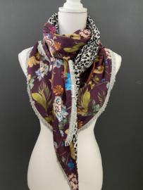 Aubergine bloemen - Grijzig panter print, couture sjaal.