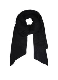 Langwerpige  super soft sjaal met schuine uiteinden. Zwart