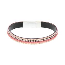 BIBA armband van Pu met kraaltjes. Roze-goud combi. Zilverkleurige sluiting