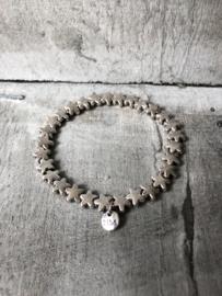 BIBA metalen armband. Ster. zilverkleurig. Glanzend