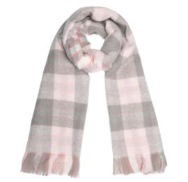 Langwerpige suuuper zachte sjaal. Grote/kleine ruit. 2 zijdig! Roze-beige.