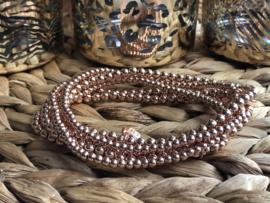Biba armband op elastiek, basis. Rosé goudkleur. Maat XXL