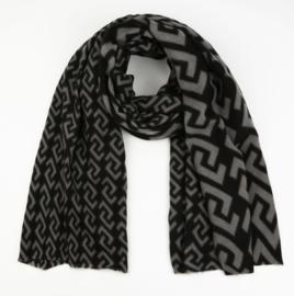 Langwerpige super soft sjaal . XL. Grafische print. Zwart - grijs