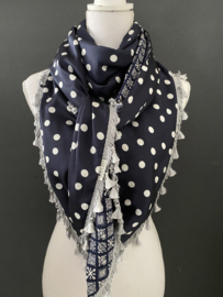 Navy polka dots / navy-wit fancy print, couture sjaal.