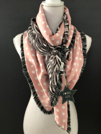 Zwart-wit zebra print / roze-witte stip. Zwart/witte korte franje.