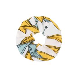 Scrunchie Wit - Geel - Lichtblauw print