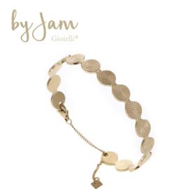 By Jam Stainless steel bewerkte armband/bangle. Met stukje ketting.  Goudkleurig