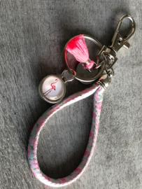 Kids tas- & sleutelhanger. Flamingo. Roze