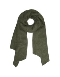 Langwerpige  super soft sjaal met schuine uiteinden. Army green
