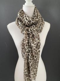Mooie dunne langwerpige sjaal. Panter print, bruin.