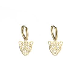 "RVS oorbellen (stainless steel), mini ""open"" luipaard aan ringetje. goudkleurig."