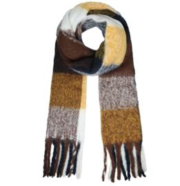 Langwerpige  dikke soft sjaal in kleur blokken. Bruin/oker