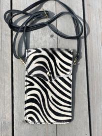Vacht telefoon tasje. écht leer. Zebra print.