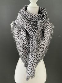Lichtgewicht cheetah sjaal. 3-hoek vorm. 2 kanten draagbaar. Lila