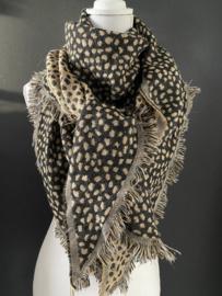 Lichtgewicht cheetah sjaal. 3-hoek vorm. 2 kanten draagbaar. Camel