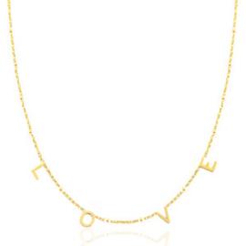RVS (stainless steel) ketting. Met kleine letters L O V E. Goudkleurig.