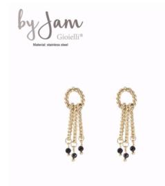 By Jam, RVS oorbellen (stainless steel), goudkleurig. 3 ovale ringen met zwarte kraaltjes.