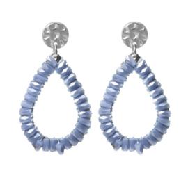 Biba oorbellen. Druppelvorm + kraaltjes. Zilver - Lavendel blauw