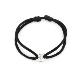 """Satijn armbandje met RVS (stainless steel) """"LOVE"""". Zwart - Zilver"""