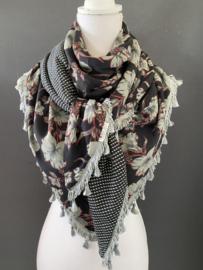 Zwart - grijs groen - rood bloemen print  / mini stip,  couture sjaal.
