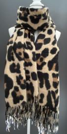 Extra lange super soft sjaal . Luipaard print. Licht Bruin