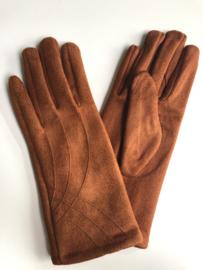 Handschoenen, stretch suedine.  Cognac / roestbruin.