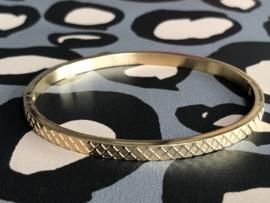 RVS (stainless steel) armband. Ruitpatroon. Goudkleurig.