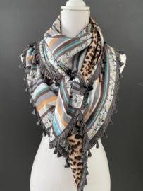 Streep-bloem dessin  / bruin panterprint. Couture sjaal.
