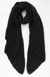 Langwerpige  super soft sjaal met ribbel. Uni zwart.