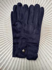 Handschoenen, stretch suedine.  Donkerblauw.