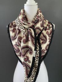 Paisley dessin in ecru - zwart - bordeaux rood / panter print, couture sjaal.