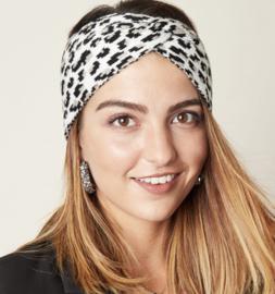 Gebreide haarband, panter / luipaard dessin. Grijs