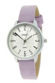 Horloge Ernest, Medium wijzerplaat. Suedine achtige band. Lila  - zilver.