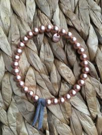 BIBA metalen kralen armband. 7 mm.Mat, Rosé kleurig.