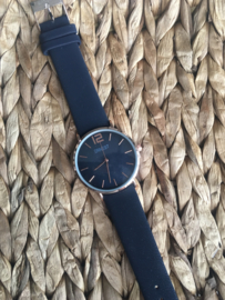Horloge Ernest,  stijlvol. Suedine achtige band. Navy - rosé