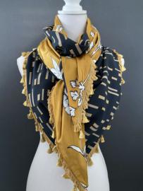 Fancy patroon (Crepe) donker petrol / Okergeel bloemen,  couture sjaal.