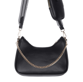 Súper trendy tas met mini tasje. Bewerkte band + ketting. Zwart.